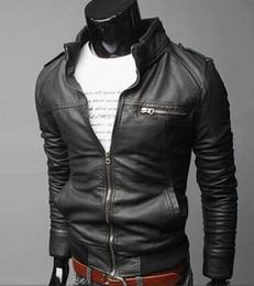Korean Motorcycle Jacket Canada - Men's foreign trade wholesale motorcycle leather men's 2015 Winter new Korean Slim men's leather jacket leather jacket coat .@s009