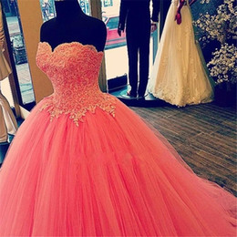 Robes De Bal Cœur Rouge Pas Cher-2015 Watermelon Red Quinceanera Robes Ball Gown Images réelles Sweetheart Lace Vestido De Festa Longueur au sol Cheap Tulle Formal Prom Dress