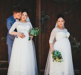 vintage wedding dresses for pregnant 2019 - 2019 Fall Half Sleeves Maternity Dresses with Jewel Neck Lace Beaded Waist Floor Length Wedding Dresses for Pregnant Wom