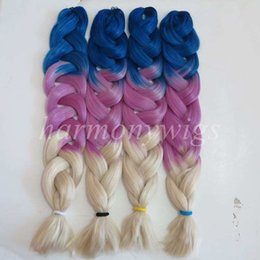 $enCountryForm.capitalKeyWord NZ - Ombre Synthetic Jumbo Braiding Hair 64inch 165g Blue&Purple&Blonde Three Tone Color Synthetic Crochet Braids Hair Extensions