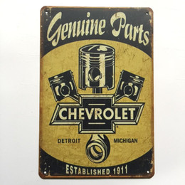 Chinese  Genuine Parts Chevrolet Retro Vintage Metal Tin sign poster for Man Cave Garage shabby chic wall sticker Cafe Bar home decor manufacturers