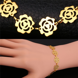 trendy roses NZ - U7 Romantic Flower Chain Bracelet Trendy Platinum 18K Real Rose Gold Plated Fashion Jewelry 3 Colors Perfect Gift For Women