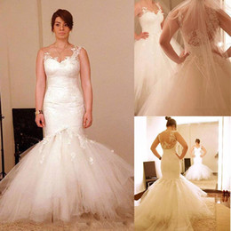 Wedding dresses sWeetheart neckline straps online shopping - 2015 Wedding Dresses Sheer Neckline Appliques Detachable Skirt Mermaid Tulle Court Train Bridal Dresses Dhyz
