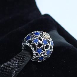 Pandora Charm Bracelet Blue Canada - 925 Sterling Silver Night Sky Blue Enamel Charm Bead Fit European Pandora Style Jewelry Bracelets Necklaces & Pendant
