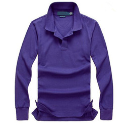 Long Sleeve Polo Purple Canada - Top Famous Golf business men Polo shirts long sleeve cotton Pony embroidery Polos Shirts Custom Made Classic fit Popular men's polos shirts