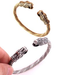 Bangle Silver Dragon Australia - Antique Silver Or Gold-color Dragon Viking Bracelets&Bangle Carter Love Bracelet Pagan Jewellery Accessories