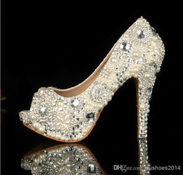 pearl peep toe heels NZ - 2015 Unique Ivory Pearl Rhinestone Wedding dress Shoes Peep Toe High Heeled Bridal Shoes Waterproof Woman Party Prom Shoes