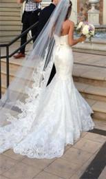 $enCountryForm.capitalKeyWord Canada - Luxury Wedding Veils Cheap Long Lace Bridal Veil One Layer Cathdral Train Lace Applique Edge Bride Veil