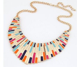 Wholesale Amazing Deals Fashion Top Selling Colorful Enamel Big Bib Statement Collar Necklace Christmas Gifts For Women