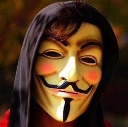 Dresses halloween for men online shopping - New Arrive Vendetta mask anonymous mask of Guy Fawkes Halloween fancy dress costume white yellow colors