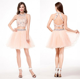 8a06a0301fd Cheap Two Piece Homecoming Dresses Tulle Pleats High Quality Simple Made To  Order Sexy Lace Patterns 8th Grade Gowns Graduation For Girls