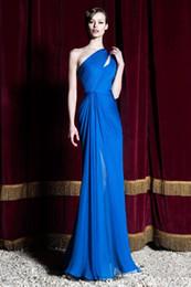 One Shoulder Silk Chiffon Dresses NZ - Royal Blue Silk Chiffon 2016 Zuhair Murad Evening Party Dresses One Shoulder Pleated Sheath Sweep Train Graceful Celebrity Gowns BO9790