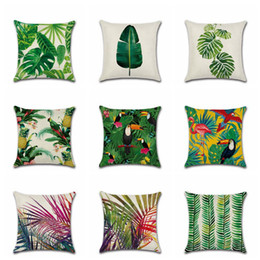 Wholesale Tropical Plant Printed Cushion Cover Green Leaves Linen Pillow Case Chair Car Sofa Pillow Cover Home Decorative OOA3752