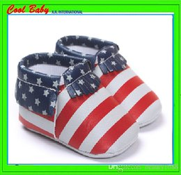 Usa Flag Shoes NZ - Pure PU leather Tassels kids walker waterproof zebra USA flag solid pink cute shoes.11-14cm.XRWX052