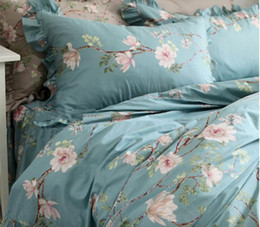 Queen Pink Floral Comforters NZ - Princess ruffled bedding set girl,twin full queen king cotton pastoral blue floral bedclothes bed dress pillow case duvet cover