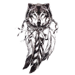 3a0c869f3a3c5 Tattoos Wolves Canada - 1pc Sketch Black Tattoo Sticker Women Men 3D Body  Art Wolf Dreamcatcher