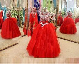 2016 globo de oro Vestidos del desfile de la muchacha Cap Sleeve Beads Cristales Vestidos del desfile Noche para niñas Tulle niñas Vestido de niña de las flores rojas
