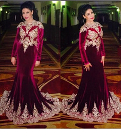 Costumbre Oriental Baratos-2016 Burgundy Arabic Evening Dresses Velvet Long Sleeves Lace Applique sirena Prom Dresses por encargo de Oriente Medio formal vestido de fiesta