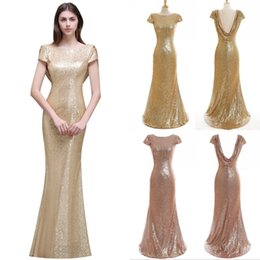 $enCountryForm.capitalKeyWord Australia - Sparkly Rose Gold Cheap Mermaid Bridesmaid Dresses Short Sleeves Backless Long Beach Sequins Wedding Party Dress Champagne CPS344
