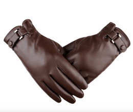 Discount men touch screen gloves - Touch Screen Man Gloves PU Leather Gloves Autumn And Winter Simulation PU Plus Thickened Fashion Winter Driving