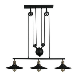 Chinese  Vintage Pendant Lights Fixtures Loft Style Hanglamp Pulley Retro Lamp Black Metal Industrial Lighting Bedroom Dining Room Bar manufacturers
