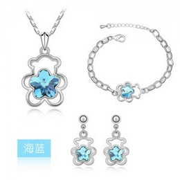 blue flowers set necklace earrings Canada - Flower Pendant Necklaces Jewelry Sets Austria Zircon Crystal Necklace+Earrings+Bracelet Jewelry Sets Women Jewellry Accessory Free Ship