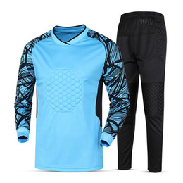 Football Jersey Printing Canada - new kids soccer goalkeeper jersey set  men s sponge football long sleeve bdcb38229