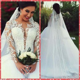 spanish ball gown lace appliques long sleeve bridal gowns tulle chapel train for bride wedding dresses tulle custom spring 2016 modest