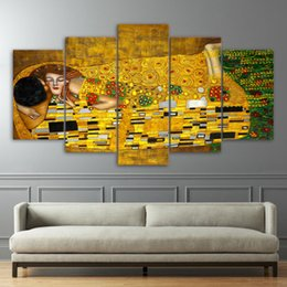 art canvas prints Australia - 5 Pcs Set HD Printed Gustav Klimt Kiss Artwroks Canvas Print Poster Asian Modern Art Oil Paintings Pictures