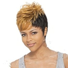 AfricAn AmericAn full wigs online shopping - Capless New Stylish African American Wig Short Straight Yellow Black Synthetic Hair Cosplay Wig Full Wigs in Stock
