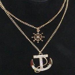 $enCountryForm.capitalKeyWord NZ - New Fashion White Navy Crystal Rhinestone Anchor Rudder Pendant Long Chain Sweater Necklace Personality For Women