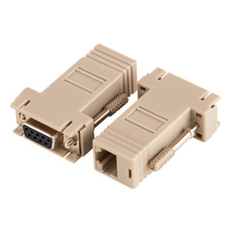 rs232 adapters Australia - Wholesale 50pcs lot DB9 Female to RJ45 Female F F RS232 Modular Adapter Connector Convertor Extender