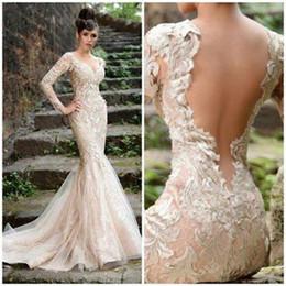 Bow dress event online shopping - Charming Rami Salamoun Evening Dresses Long Sleeve Sheath Slim Applique Natural Waist Bridal Gown Court Train Event Wedding Beach Prom Dress