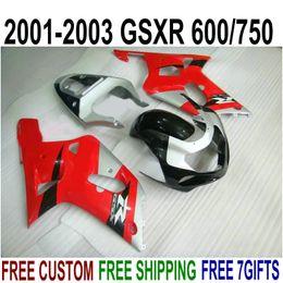 Kit Gsxr K1 Australia - ABS plastic bodykits for SUZUKI GSX-R600 GSX-R750 01 02 03 fairing kit K1 GSXR 600 750 2001-2003 red silver black fairings set SK48
