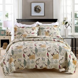 discount cotton queen bird quilt set quilt 100 cotton butterflies and birds printing 3 pieces