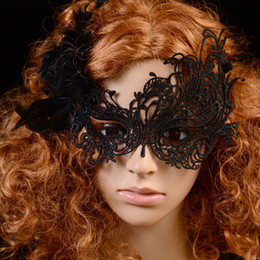Discount face jewelry mask - 2015 Hot Women Black Lace Mask Female Mask Party Jewelry Masquerade Halloween Mask free shipping TY943