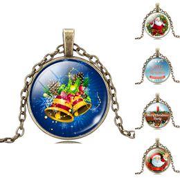 $enCountryForm.capitalKeyWord NZ - Christmas gifts Santa Claus necklace Time gemstone Glass Necklace christmas glass cabochon necklaces pendants 5 style letter Merry Christmas