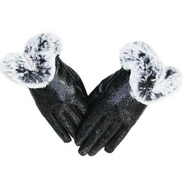 $enCountryForm.capitalKeyWord Canada - Elegant Womens Girls Winter Warm Touchscreen Rose Print Leather Gloves Thermal Lined Windproof Mittens Casual Club Party Driving Cycling