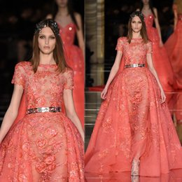 Chaud Sans Robe Pas Cher-Rouge manches courtes robes de bal détachables train Flower Applique 2016 Zuhair Murad Party robes printemps Illusion robe de soirée chaude Sans Sash