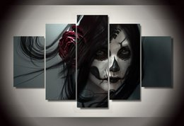 $enCountryForm.capitalKeyWord NZ - 5 Panel Framed Painting Day of the Dead Face Group Painting room decor print poster picture canvas decoration Free shipping