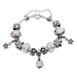 Dangling Chain NZ - Elegant Charm Bracelets with Star & Four Leaf Clover Dangles Fashion Snake Chain Bangle Bracelets for Women BL109