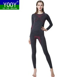 Costume De Chemise De Dame Pas Cher-Gros-YOOY Femmes Ski Thermique Sous-Vêtements Ensemble Dames À Séchage Rapide Funktion Compression Survêtement Fitness Tight Shirts Sport Noir Costumes