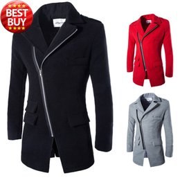 Blazer En Laine D'hiver Hommes Pas Cher-FG1509 Winter Casual Coat Men 2015 New Fashion Wool Blend Épaissir chaud Manteau long Veste Homme Rouge Noir Blazer Jacket Chaqueta Hombre 2TG
