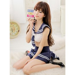 Barato Meninas Quentes Trajes Sexy-Hot New Brand 2015 Sexy Women School Uniform Girls Student 2Pcs Top e Skirt Sailor Cosplay Erotic Lingerie Costumes FG1511