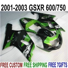 kit gsxr k1 NZ - Top quality ABS fairings set for SUZUKI GSX-R600 GSX-R750 2001-2003 K1 black green fairing kit GSXR 600 750 01 02 03 SK52