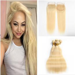 Human Hair Pc Closure NZ - 613 Blonde Lace Closure With Bundles 3 Pcs Brazilian Virgin Hair With Closure Platinum Blonde Straight Human hair With 4*4 Lace Closure