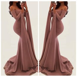 unique long prom dresses NZ - Unique 2018 Long Sleeves Mermaid Evening Gowns Sexy Off Shoulder Side Split Prom Dresses Formal Party Dress Vestidos De Festa