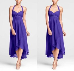 Barato Barato Roxo Mau Vestido Baixo-2017 New Sexy High Low Bridesmaids Vestidos Chiffon A Line Halter Ruched Purple Beach barato vestido de dama de honra Matching Wedding Party Dress