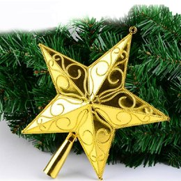 christmas tree top star xmas plastic pentagram decoration party decorate ornament santa trees accessories five pointed stars topper 6pcs lot - Christmas Tree Accessories