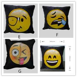 Funny cushion cases online shopping - Hot Emoji Cushion Cover Reversible DIY Sequin Mermaid Pillow Case Funny Changing Smiley Faces Decorative Pillowcase